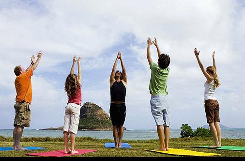 Yoga class in Hawaii
